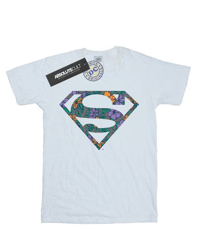 DC Comics Women's Superman Floral Logo 1 Boyfriend Fit T-Shirt