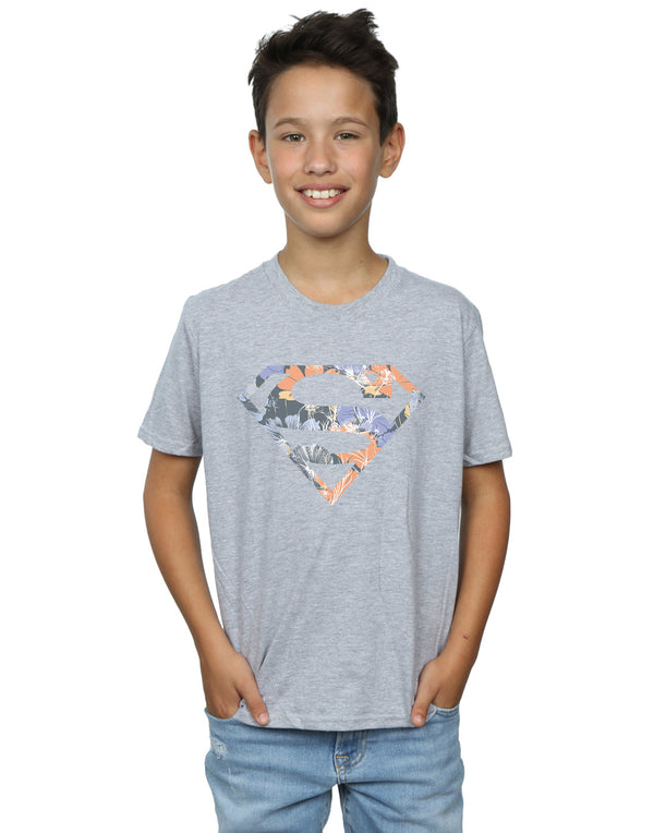 DC Comics Boys Superman Floral Logo 2 T-Shirt