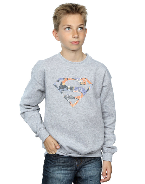 DC Comics Boys Superman Floral Logo 2 Sweatshirt