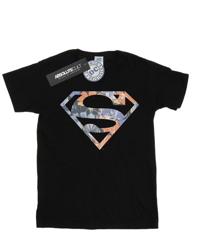 DC Comics Women's Superman Floral Logo 2 Boyfriend Fit T-Shirt