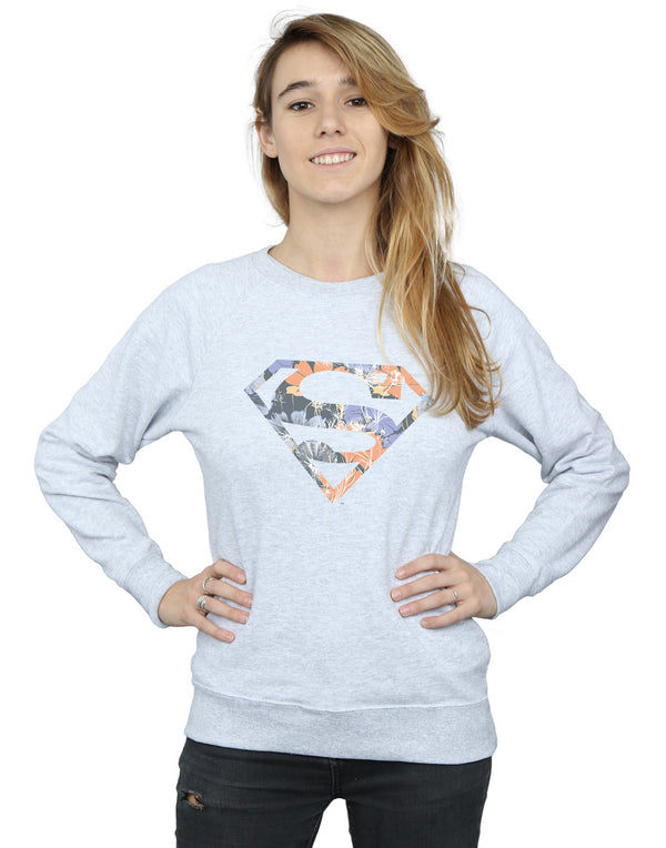 DC Comics Women's Superman Floral Logo 2 Sweatshirt