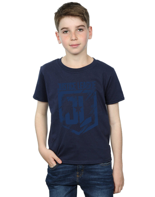 DC Comics Boys Justice League Movie Indigo Logo T-Shirt - coolulu.com