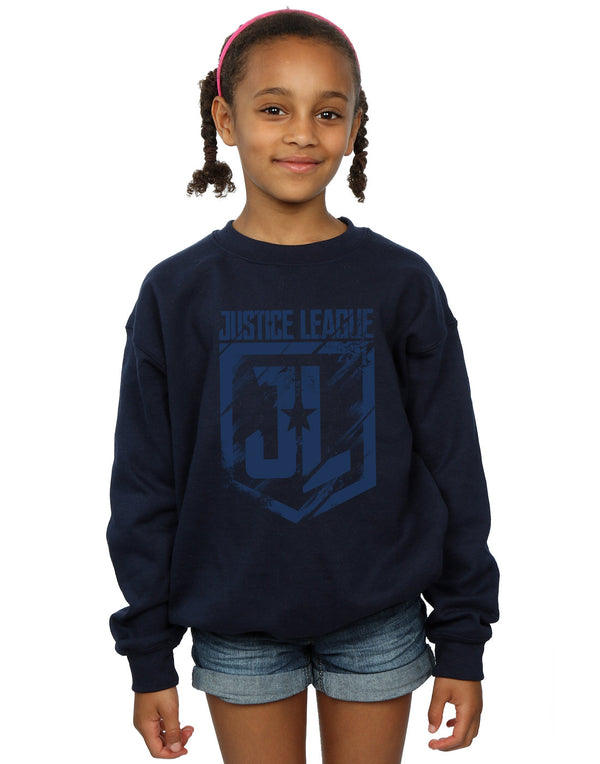 DC Comics Girls Justice League Movie Indigo Logo Sweatshirt - coolulu.com