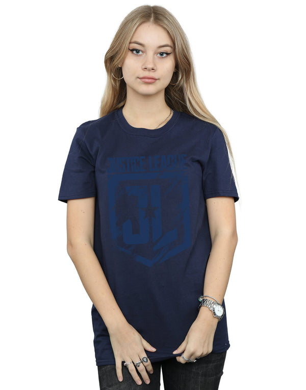 DC Comics Women's Justice League Movie Indigo Logo Boyfriend Fit T-Shirt - coolulu.com
