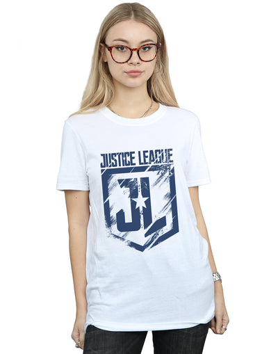 DC Comics Women's Justice League Movie Indigo Logo Boyfriend Fit T-Shirt