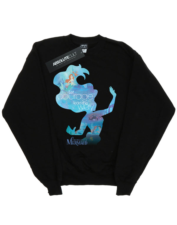 Disney Girls Princess Ariel Filled Silhouette Sweatshirt - coolulu.com