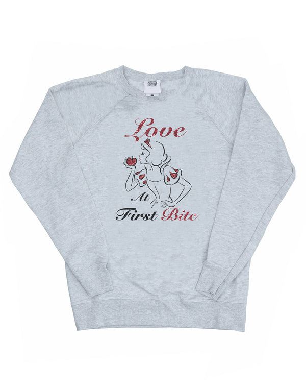 Disney Women's Princess Snow White Love At First Bite Sweatshirt - coolulu.com