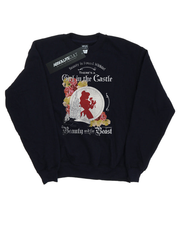Disney Women's Beauty and the Beast Girl in the Castle Sweatshirt - coolulu.com