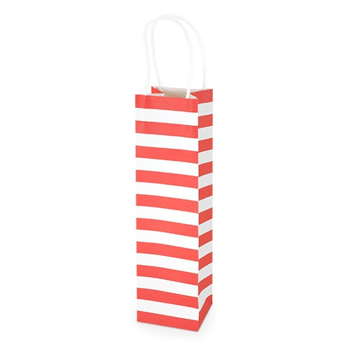 White Kraft Red Stripe 750ml Bottle Bag By Cakewalk