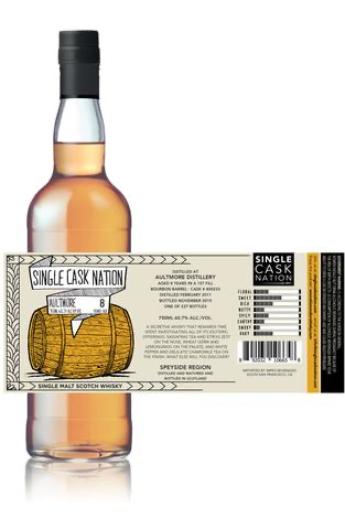 Single Cask Nation / Aultmore 8 Year 1st fill Bourbon Barrel / 750mL