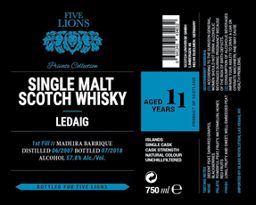 Five Lions / 11 Year Old Ledaig / Madeira Barrique / Private Collection Single Malt Scotch Whisky / 750mL