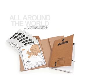 Travel Scratch Map Notebook - 8 mini World Maps | Gifts for people going travelling