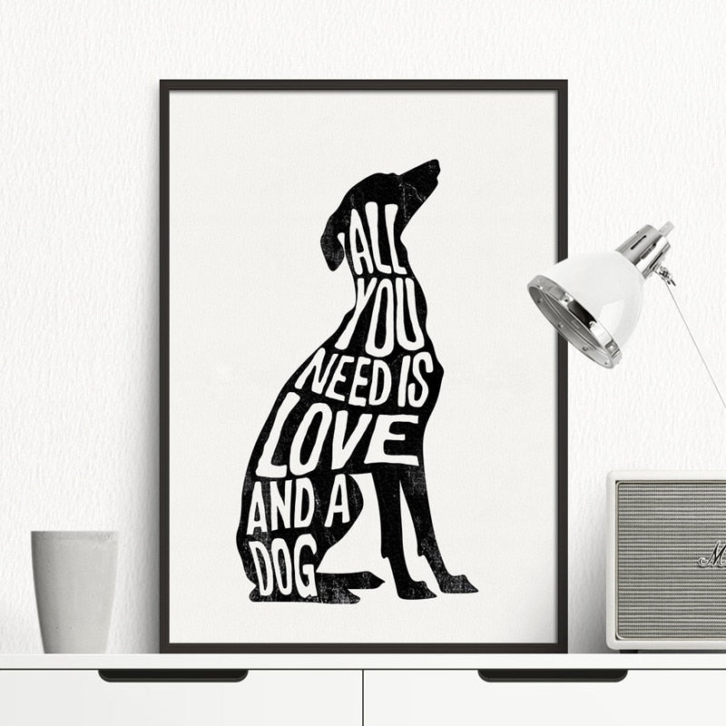 All you need is love and a dog wall art