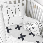 Rabbit Pillowcase | Black & White Animal Pillowcase | Nursery Decor