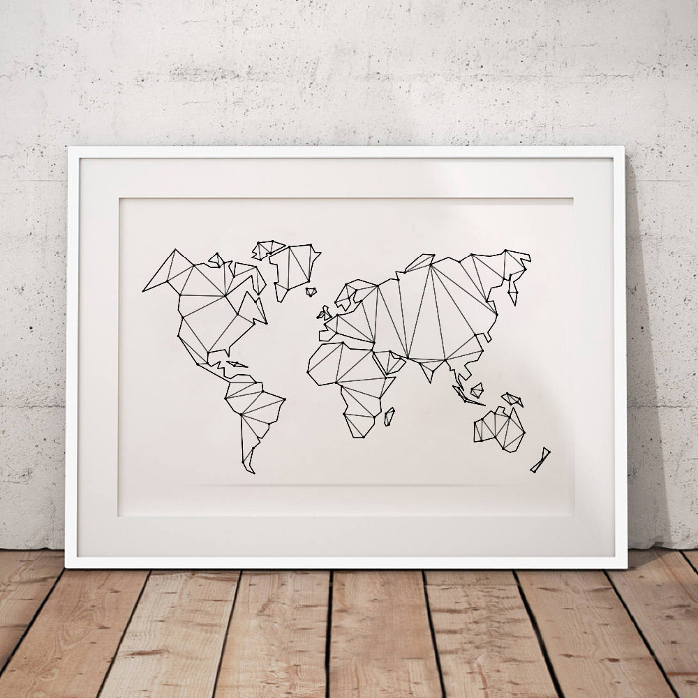 Stylish Abstract World Map Canvas Art Print | Contemporary Home Wall Art