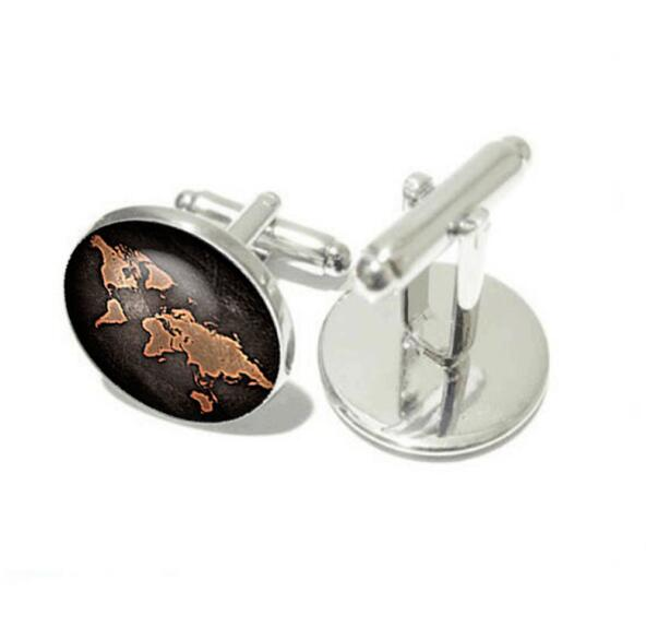 Must have Vintage Bronze & Black Globe World Map Cufflinks