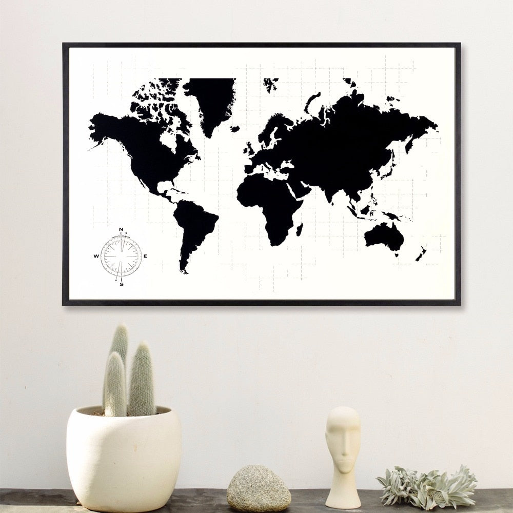 Classy World Map Canvas