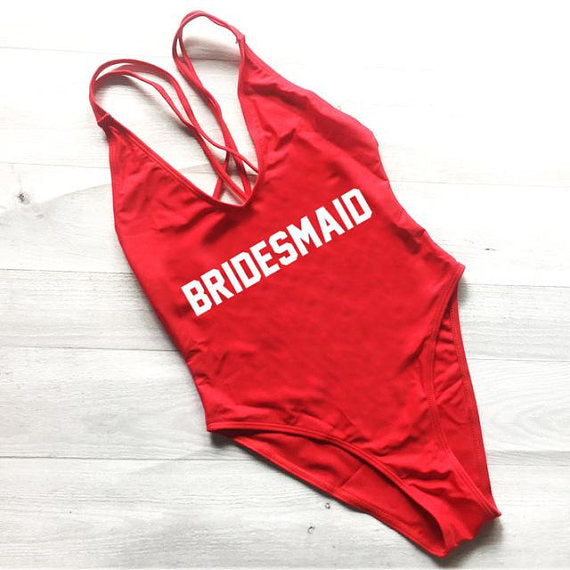 red bridesmaid one piece swimsuit