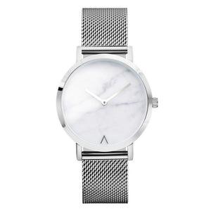 New Stylish Silver Steel Mesh Marble Watch | Affordable Watches