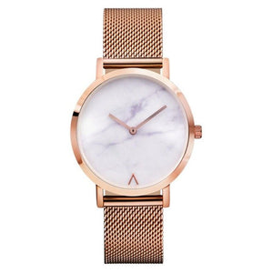New Stylish Rose gold Steel Mesh Marble Watch | Classic Watches