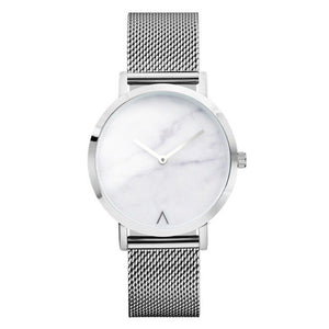 New Stylish Silver Steel Mesh Marble Watch | Cheap Gifts