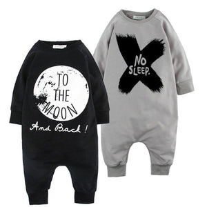 Grey & Black Slogan Long Sleeve Baby Romper | Newborn Gift's
