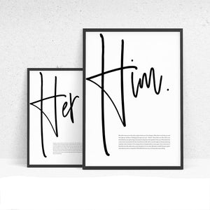Him & Her Canvas Wall Art | Stylish & Affordable Home Decor