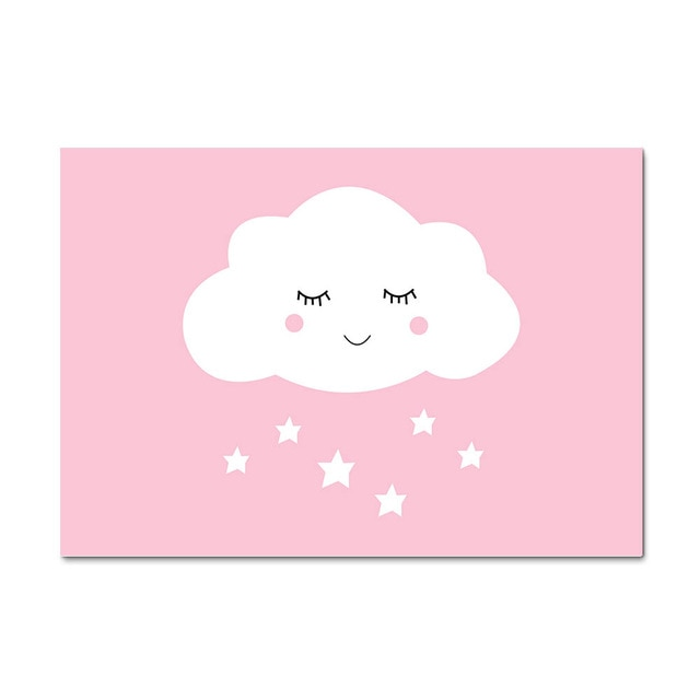 Pink Cloud Nursery Wall Art | Nursery Canvas | Newborn baby gift | Stylish Baby Shower Gift's