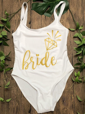 Bride one piece swimsuit in a range of colours | bachelorette party accessories