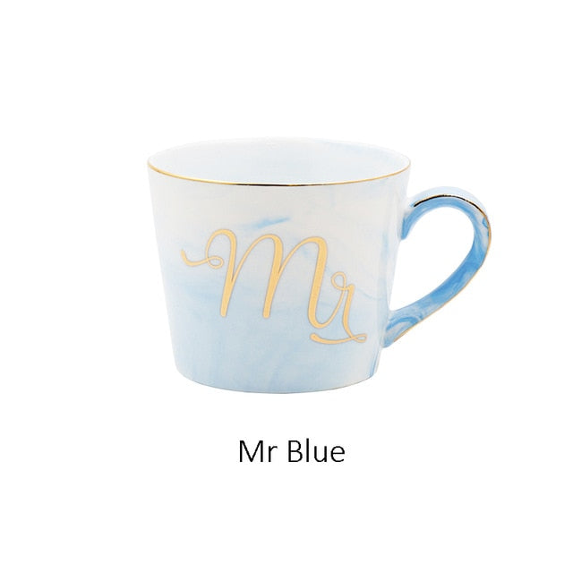Mr & Mrs Ceramic Mugs | Ideal & Affordable Wedding Gift | Blue
