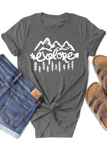 Explore Mountains Grey Adult's T-shirt