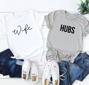 Wife & Hubs white and grey t-shirts, perfect for honeymoon or as a wedding gift
