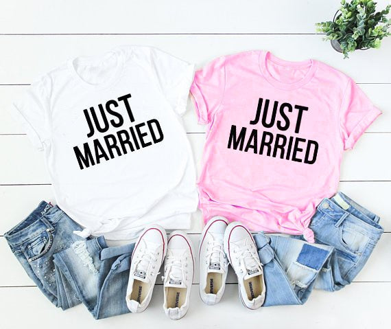Just married white & Pink T-shirt's | Honeymoon clothing