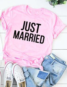 Just married Pink T-shirt | Honeymoon clothing