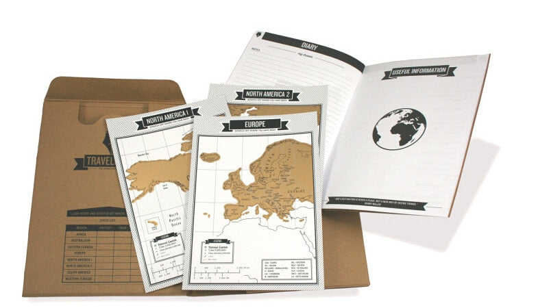 Travel Scratch Map Notebook - 8 mini World Maps | Travel Essentials | Travel Entertainment