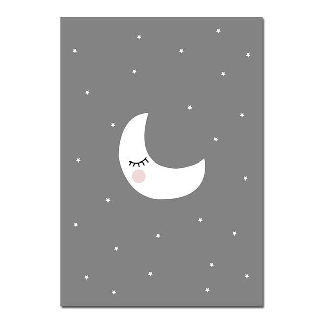 Grey Moon Nursery Quote Poster | Affordable wall art