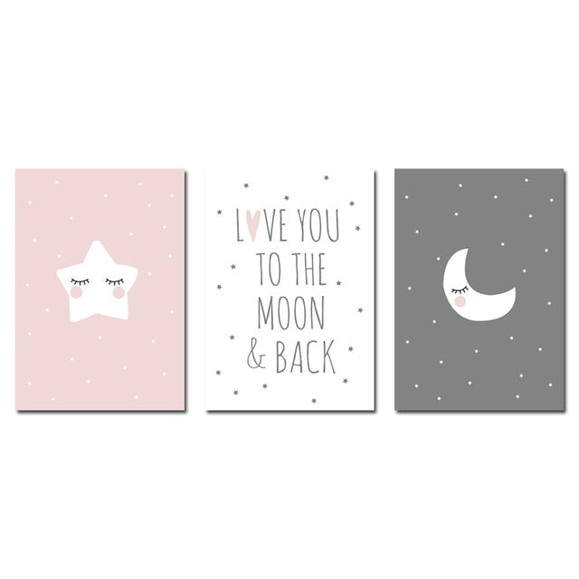 Love you to the moon and back | Nursery Quote Poster | Wall Art