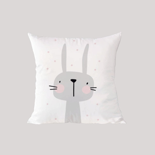 Cute Pink & Grey Rabbit Cushion | Nursery Pillows | Children's Pillows | Kid's Gifts