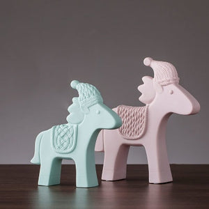 Nordic Ceramic Animal Ornaments | Pastel coloured home ornaments | Horses