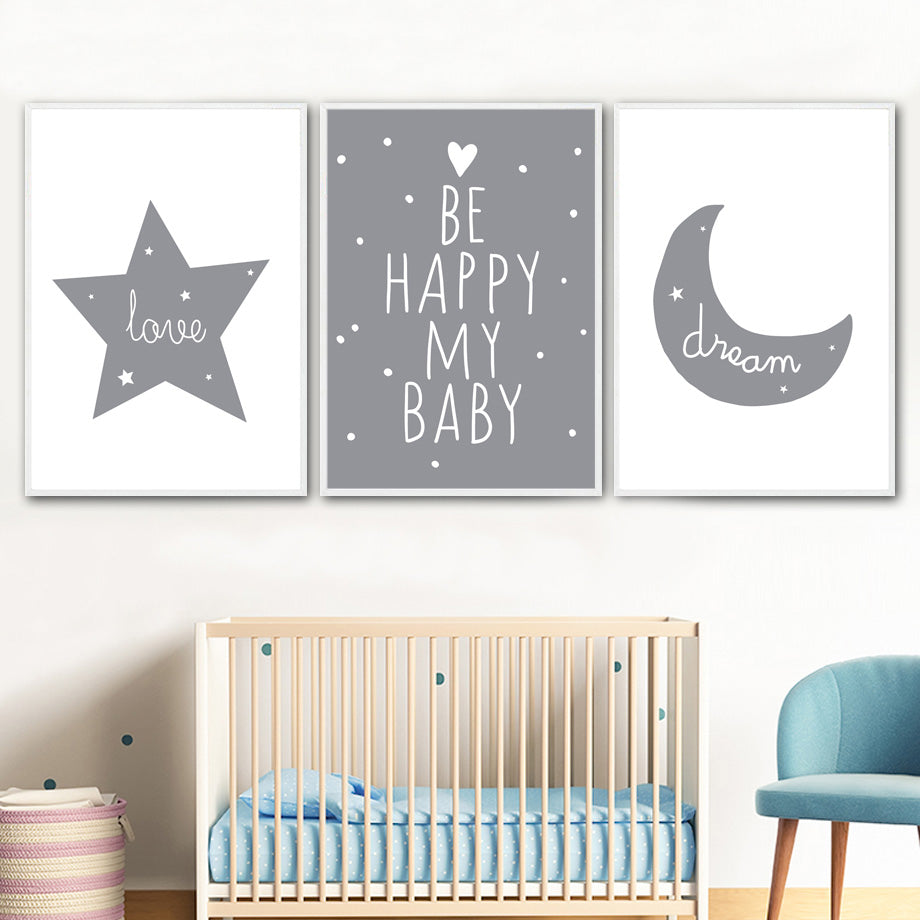 Love, dream, be happy my baby nursery wall art | Stunning canvas