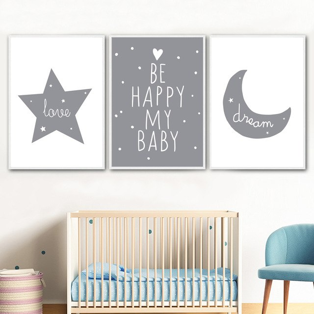Love, dream, be happy my baby nursery wall art | Affordable canvas