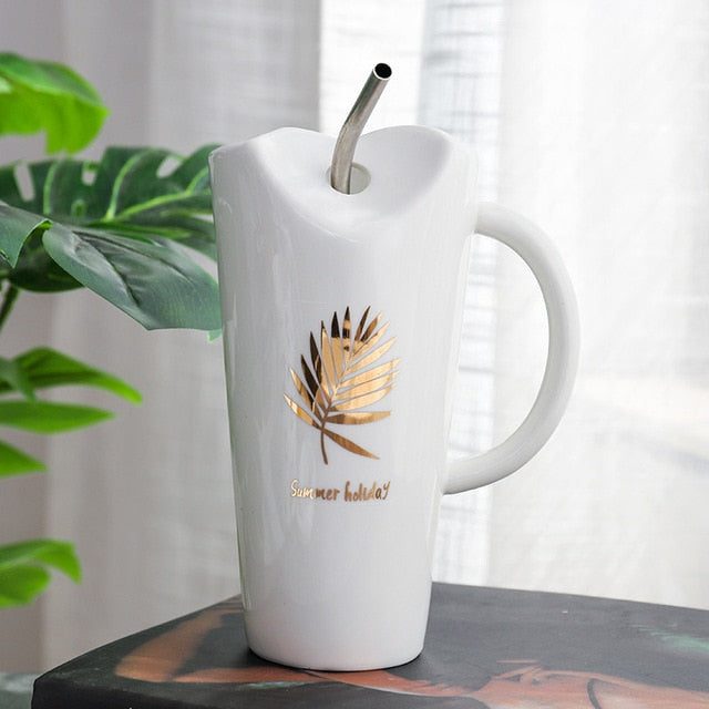 Ceramic Mug & Straw in White with Gold design | Home gift's