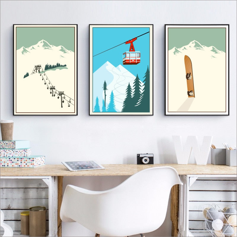 Must Have Vintage Skiing Canvas | Wanderlust Wall Art | Vintage home Decor