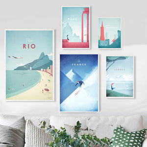 Minimalist Travel Posters from around the world in pastel colours | Affordable Wall art