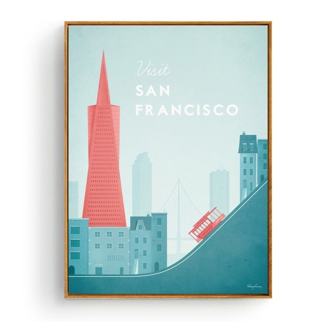 Minimalist San Francisco Travel Poster in pastel colours | Affordable Wall art