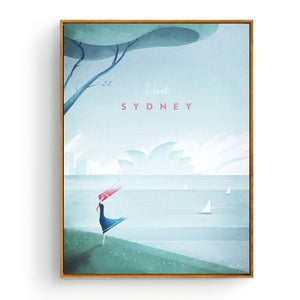 Minimalist Sydney Travel Poster in pastel colours | Affordable Wall art