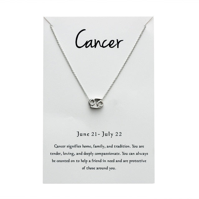 Cancer Star Sign Charm Necklace Gold & Silver Star Sign Chain | Star Sign Gift