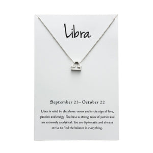 Libra Star Sign Charm Necklace Gold & Silver Star Sign Chain | Star Sign Gift