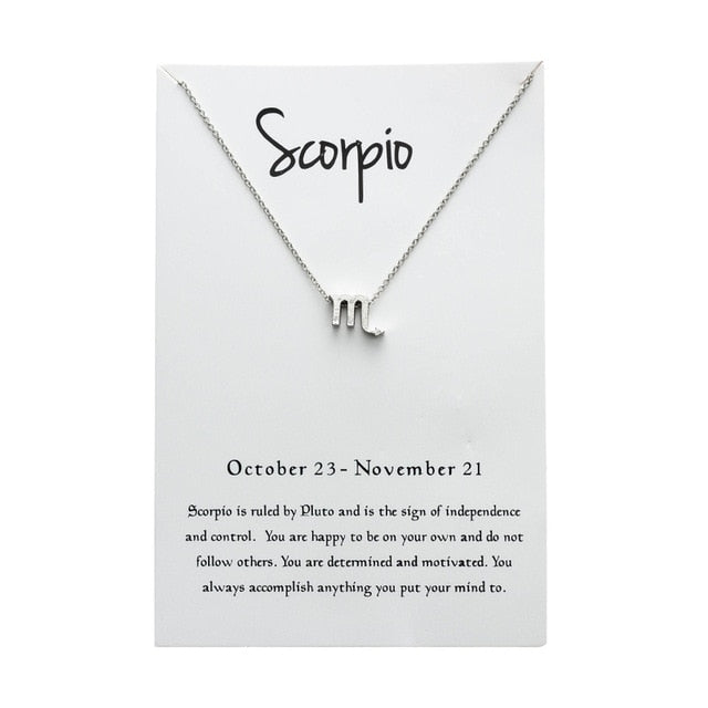 Scorprio Star Sign Charm Necklace Gold & Silver Star Sign Chain | Star Sign Gift