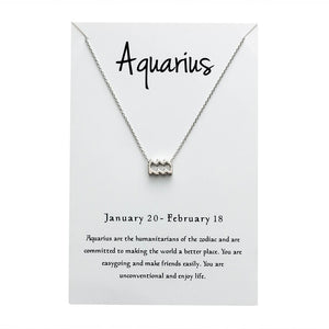 Aquarius Star Sign Charm Necklace Gold & Silver Star Sign Chain | Star Sign Gift